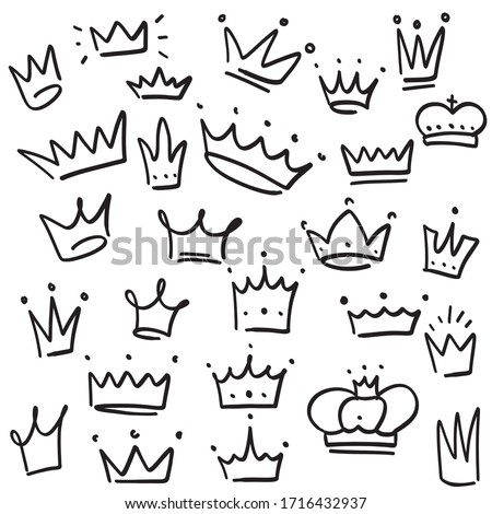 Doodle crown set, hand drawn vector crowns illustration