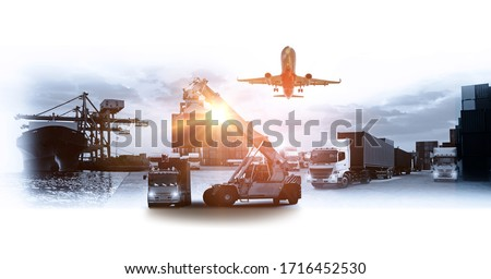 Logistics and transportation of Container Cargo ship and Cargo plane with working crane bridge in shipyard at sunrise, logistic import export and transport industry background #1716452530