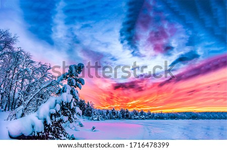 Winter nature snow sunset sky clouds. Winter sunset forest sky. Sunset sky winter forest. Winter sunset sky view #1716478399