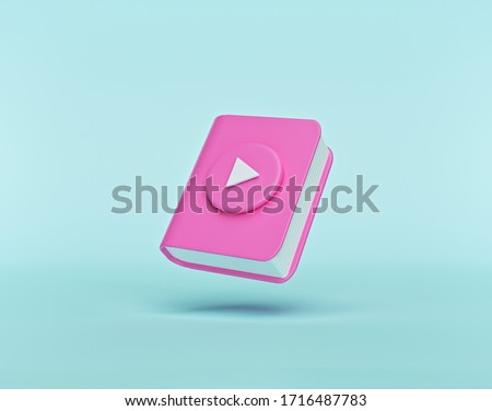 Audiobook concept. book with play button isolated on pastel blue background. minimal style. 3d rendering
