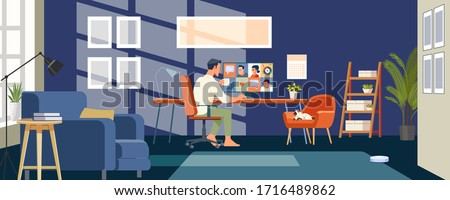 Working at home. Businessmen employee speak talk on video call with colleagues on online briefing, worker have Webcam group conference with coworkers. Flat style Vector Illustration. Royalty-Free Stock Photo #1716489862