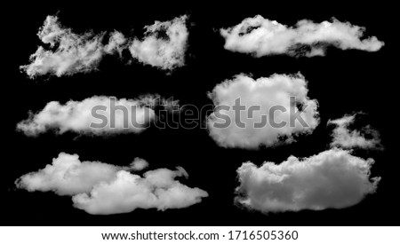 Set of White clouds isolated on black background. #1716505360