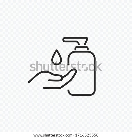 Icon of hygiene procedure, disease prevention. Vector sanitizer and antiseptic alcohol gel symbol. Healthcare wash hands with soap, antibacterial icon. #1716523558