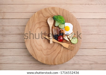 Intermittent fasting. Healthy breakfast, diet food concept. Organic meal. Fat loss concept. Weight loss. Royalty-Free Stock Photo #1716552436