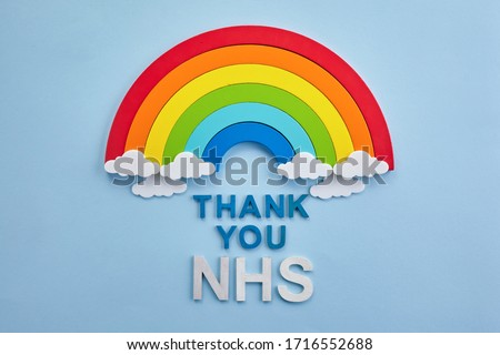 Thank you nhs rainbow banner. Rainbow ob blue background with letters #1716552688