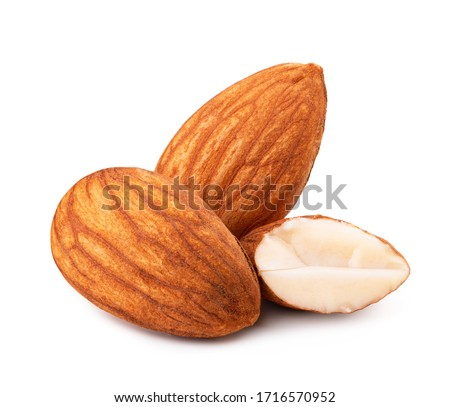 Heap of almonds isolated on white background #1716570952