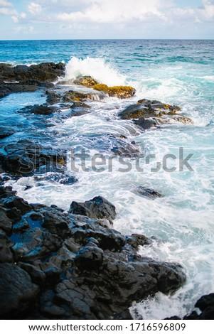 Hawaiian lagoon with the light blue water and black lava rocks. Wild beach. Rocky shore. #1716596809
