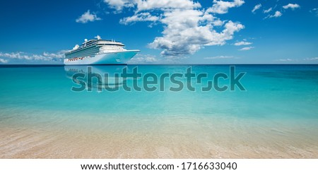Luxury cruise ship at sea. Royalty-Free Stock Photo #1716633040