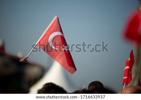 October 29 Republic day of Turkey. Crowded people in the square of Gundogdu and Turkish flags in crowded people. #1716633937