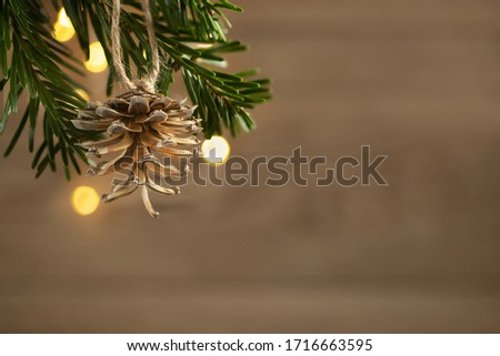 Zero waste and eco friendly christmas concept. Pine cone on a Christmas tree branch on a background of a wooden wall, copy space