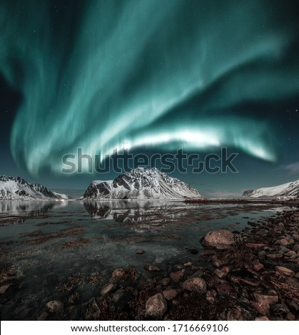 Northern lights, Aurora borealis over amazing landscape in Lofoten, Norway  with mountains in background, Absolutely stunning and beautiful lights on the sky #1716669106