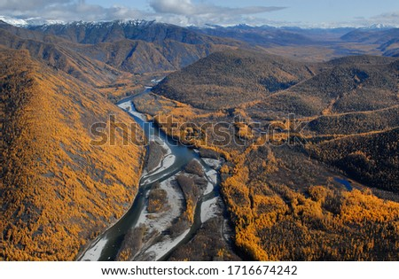 Autumn taiga river from helicopter. Yellow forest on mountain slopes. Far est expedition. Panoramic forest mountains landscape. Far est taiga top view #1716674242