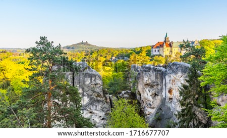 Spring landscape panorama of Bohemian Paradise, Czech: Cesky Raj. Hruba Skala castle and Trosky ruins. Czech Republic. #1716677707