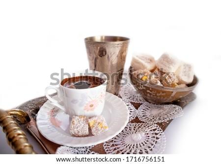 Ramadan Kareem Turkish Coffee and Turkish Delight Royalty-Free Stock Photo #1716756151