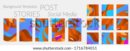 Abstract vector Instagram background set with bright gradient wavy organic overlapping shapes grunge textured. Fluid wavy lines.Template for seasonal sale advertising  marketing technology. #1716784051