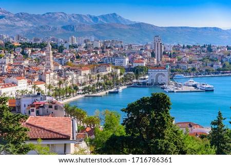 Split, Croatia (region of Dalmatia). UNESCO World Heritage Site. Mosor mountains in background. Royalty-Free Stock Photo #1716786361