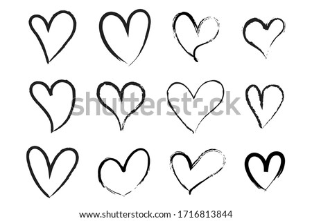 Vector Heart shape frame with brush. Heart hand drawn icons set isolated on white background. For poster, wallpaper and Valentine's day. Collection of hearts, vector illustration  #1716813844
