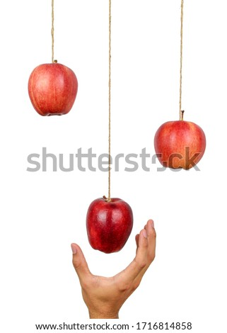 Hand reach to grab the hanging apple isolated on white background. Low hanging fruit concept. Clipping path. Royalty-Free Stock Photo #1716814858