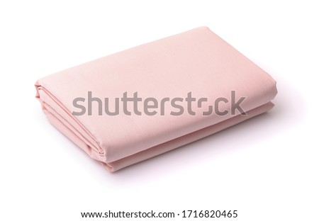 Folded cotton bedding sheets isolated on white Royalty-Free Stock Photo #1716820465
