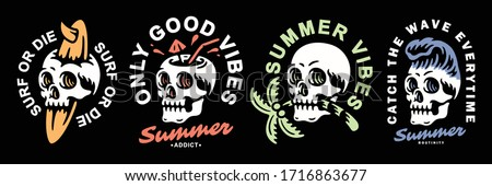 Summer-themed skull set design. For t-shirts, stickers and other similar products.