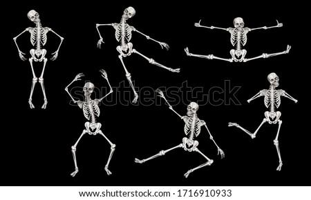 Human dancing skeleton. Clip art set on black background