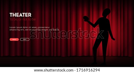 Theater banner with silhouette of actor and curtain on the background #1716916294