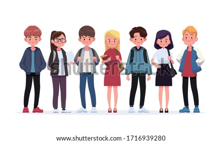 Group of young students. Flat style vector illustration isolated on white background. Royalty-Free Stock Photo #1716939280