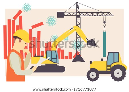 Coronavirus stock market crash construction site. Abstract concept illustration of COVID-19 crash reconstruction site with machines and worker. EPS 10.