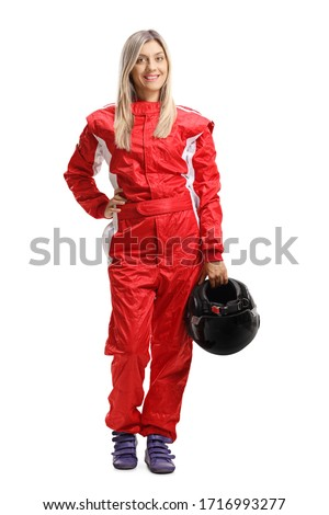 Full length portrait of a young woman in a racing suit holding a helmet isolated on white background Royalty-Free Stock Photo #1716993277