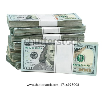 New design dollar bundles isolated on white background. Including clipping path	 Royalty-Free Stock Photo #1716995008