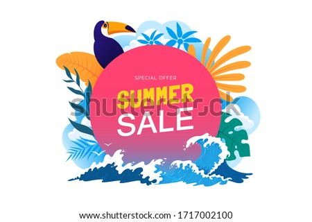 Summer sale banner with tropical leaves, toucan, sea waves. Summer vacation poster. Promo badge for your seasonal design. Vector illustration. #1717002100