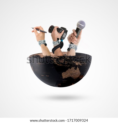 hand holding pen, hand holding camera and hand holding microphone on half earth, world press freedom day, Creative, Freedom of the press is at risk concept, press freedom day, Royalty-Free Stock Photo #1717009324