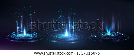 Portal and hologram futuristic circle elements. Sky-fi digital hi-tech collection in HUD style. Magic circle teleport podium. GUI, UI virtual reality projector. Abstract hologram technology. Vector #1717016095