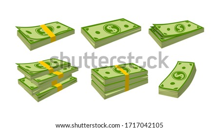 Money banknotes flat cartoon set. Packing in bundles bank notes. Green dollar in various bundles, currency sign pack. Hundreds dollars cash, green paper bills. Isolated vector illustration Royalty-Free Stock Photo #1717042105