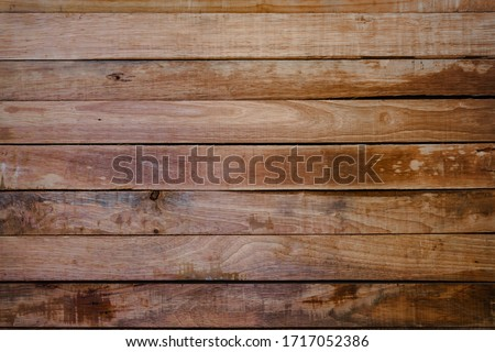 Vintage wood background texture for design floor panel siding and fence. Old pine natural plank table wall in summer. Light dark wooden board clear with pattern woodwork oak brown grain, timber rough. #1717052386