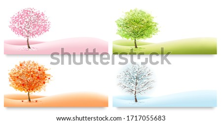 Four Nature Backgrounds with stylized trees representing different seasons. Vector. Royalty-Free Stock Photo #1717055683