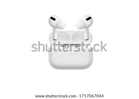 Air Pods Pro. with Wireless Charging Case. New Airpods pro on white background. Airpods Pro.EarPods. white wireless headphones on a white background #1717067044