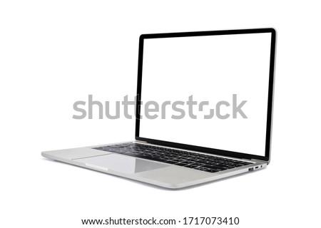 Side view of Open laptop computer. Modern thin edge slim design. Blank white screen display for mockup and gray metal aluminum material body isolated on white background with clipping path. #1717073410
