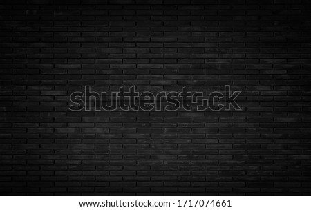 Abstract dark brick wall texture background pattern, Wall brick surface texture. Brickwork painted of black color interior old clean concrete grid uneven, Home or office design backdrop decoration. #1717074661