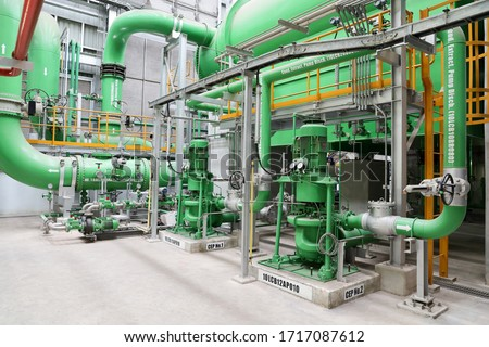Main condenser, condensate extraction pump and ball tube claning of main condenser of steam turbine Royalty-Free Stock Photo #1717087612
