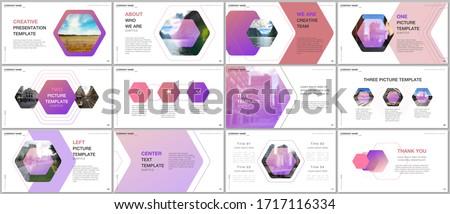 Minimal presentations design, portfolio vector templates with hexagonal design background, hexagon style pattern. Multipurpose template for presentation slide, flyer leaflet, brochure cover, report. #1717116334