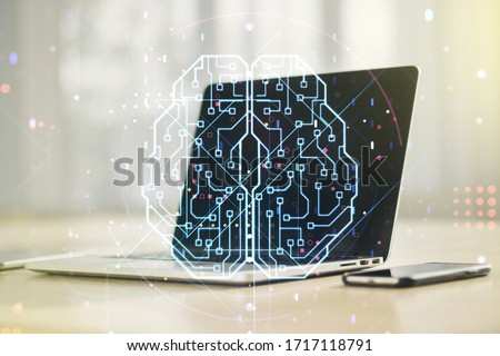Double exposure of creative human brain microcircuit with computer on background. Future technology and AI concept #1717118791