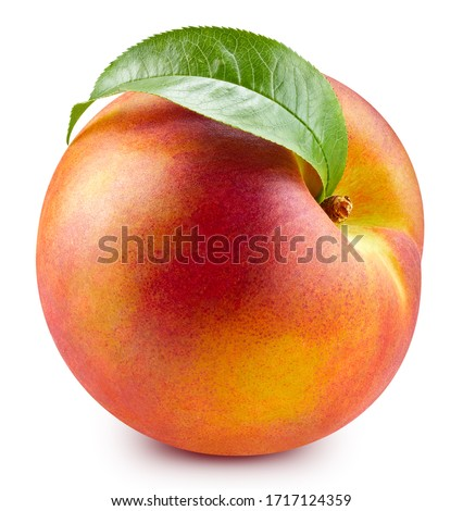 Peach with leaf isolated on white. Full depth of field. With clipping path #1717124359