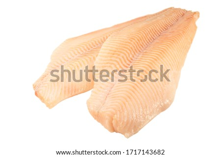 Two fresh Halibut fish fillet, white background.