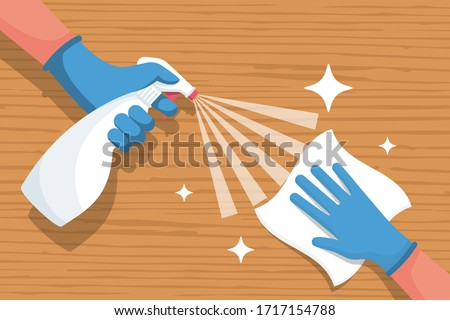 Cleaning wooden surface home or office. Spraying antibacterial sanitizing spray. Pollution prevention. Spray detergent. Napkin in hands. Protective rubber gloves. Hygiene home. Vector flat design.  #1717154788