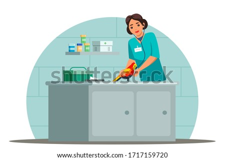 Vector character illustration veterinarian specialist works scene. Woman doctor stethoscope examines parrot.  Bird visit veterinary for check up health. Vet clinic, animal care, pet medical treatment #1717159720