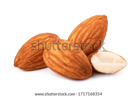Closeup of almonds, isolated on white background #1717168354
