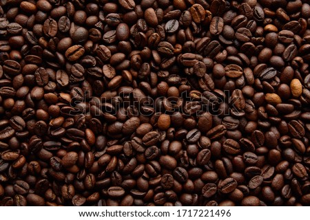 Coffee beans background. Background of roasted coffee beans #1717221496