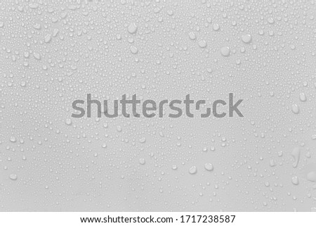 The concept of raindrops falling on a gray background Abstract wet white surface with bubbles on the surface Realistic pure water droplet water drops for creative banner design Royalty-Free Stock Photo #1717238587