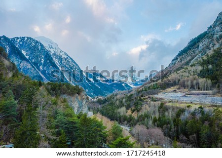 The village Palleusieux under a big mountain, in the Basin Pre-Saint-Didier, Aosta Valley at the time of corona virus outbreak, northern Italy #1717245418